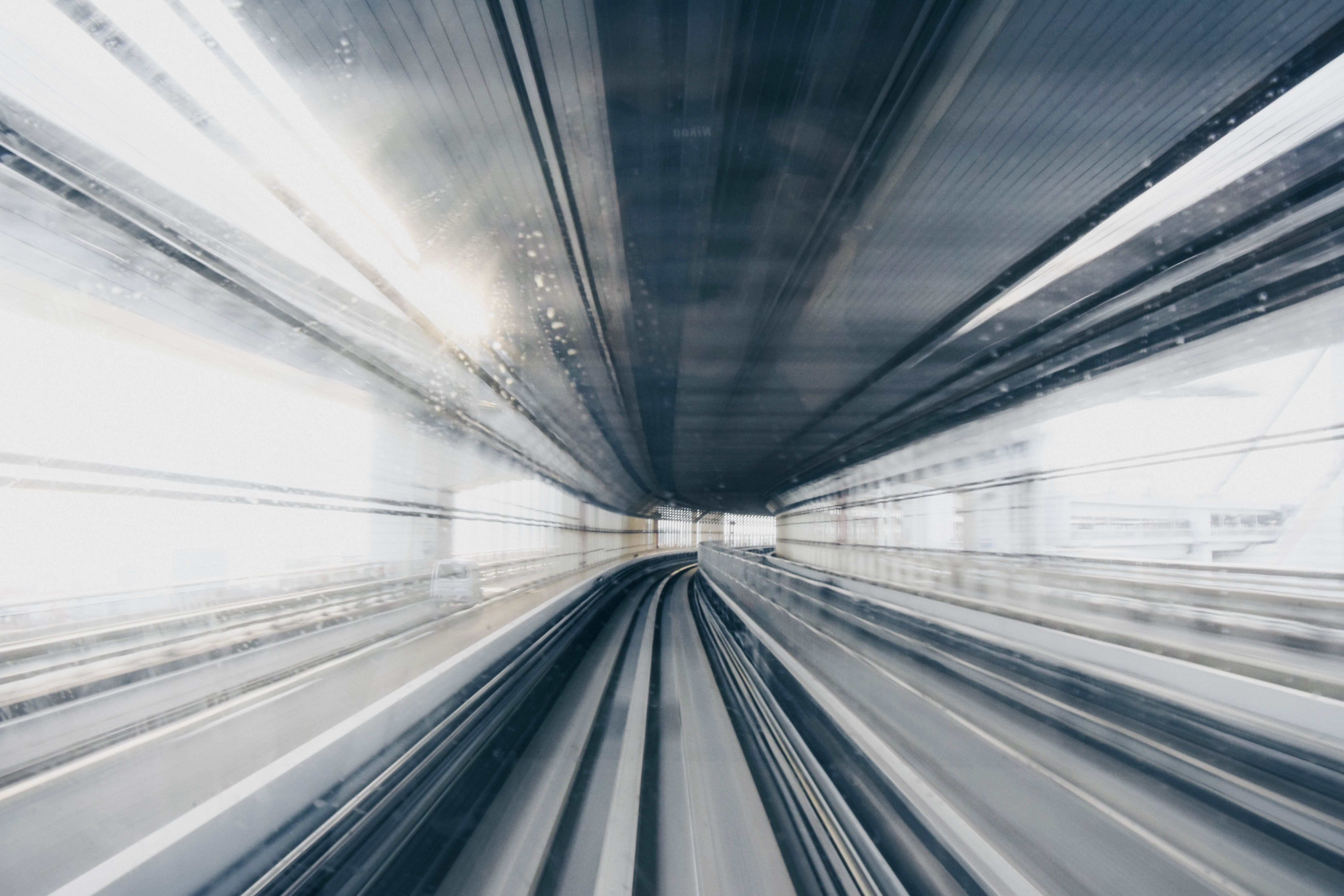 Blurred train traveling fast