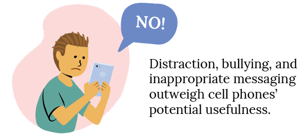 No - Distraction, bullying, and inappropriate messaging outweigh cell phone's potential usefulness