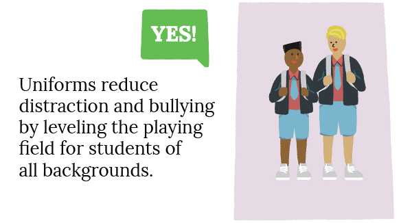 Yes - Uniforms reduce distraction and bullying by levelling the playing field for students of all backgrounds